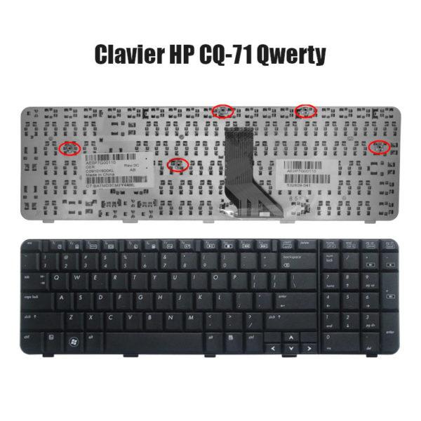 Clavier HP CQ71 Qwerty Noire Neuf et non rétroéclairé