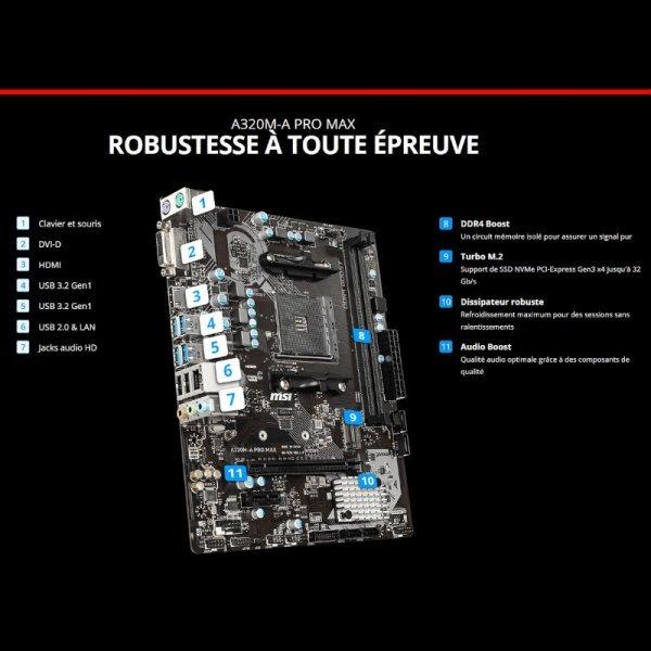 Carte Mère MSI A320M-A Pro Max Socket AM4 2*DDR4 image #02