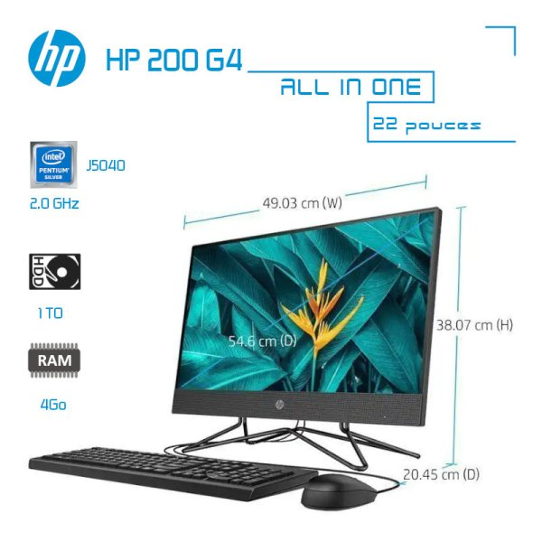 HP 200 G4 All-in-One 22 4Go-1To Pentium Silver J5040 2.0GHz image #00