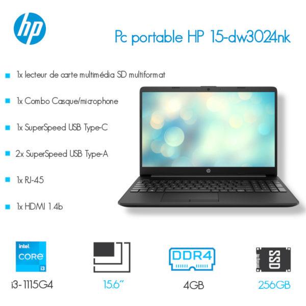 Laptop HP 15-dw3024nk i3-1115G4 4GB 256SSD 15.6″ Noir image #00