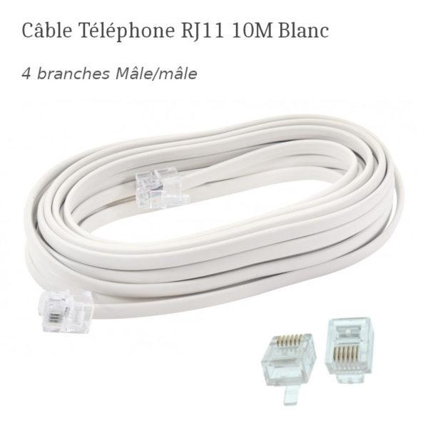 Câble Téléphone RJ11 10M Blanc