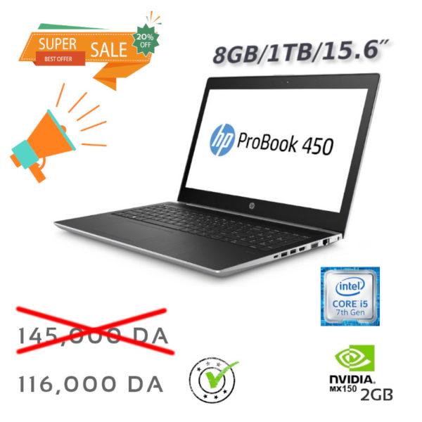 HP Probook-450 i5-7200U G5 PC Portable IPS 8Go 1To 15.6 NVIDIA MX150 GeForce 2G