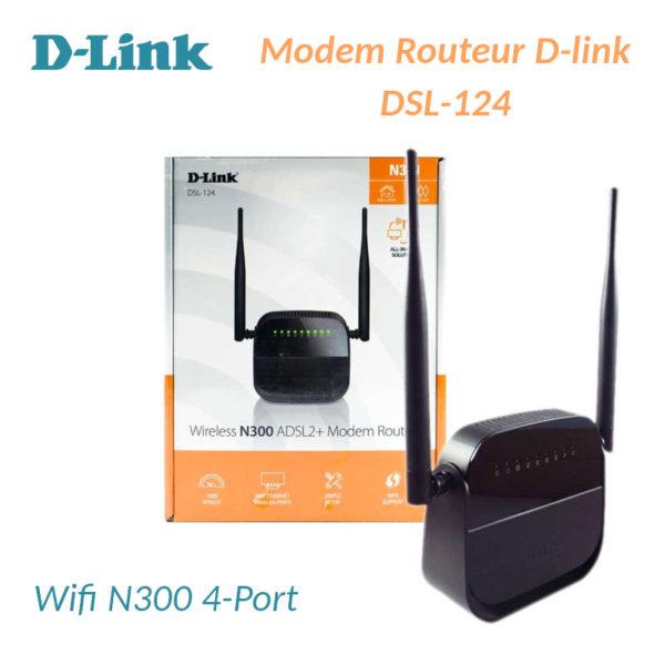 Modem&Routeur D-Link DSL-124 ADSl2+ Wifi N300 4-Port image #01