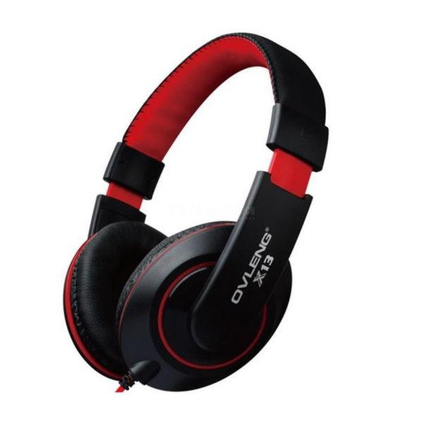 Casque Gaming filaire Ovleng X13 Jack 3.5mm rouge & noir image #02