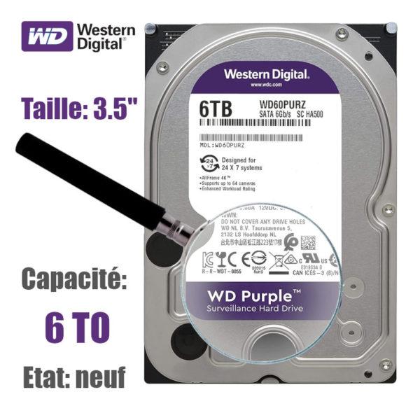 """Disque-Dur 6To WD purple pour la vidéo surveillance 3.5"""""""