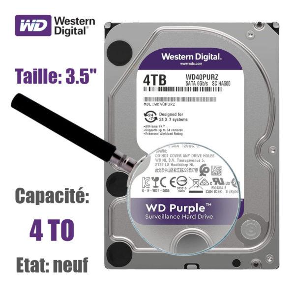 HDD 4To Western-Digital purple pour la vidéo surveillance image #01